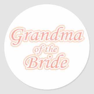 Extravaganza Grandma of Bride Classic Round Sticker