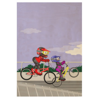 Extreme bicycle BMX in the competition incline Wood Poster