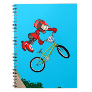 Extreme bicycle BMX pirouettes in the air Notebooks