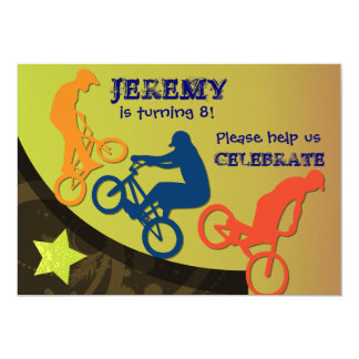 "Extreme Biking Custom BIrthday Invitation 5"" X 7"" Invitation Card"