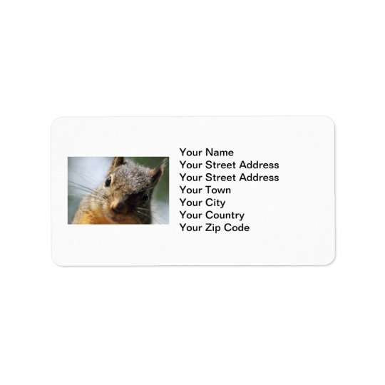 Extreme Closeup Squirrel Picture Label