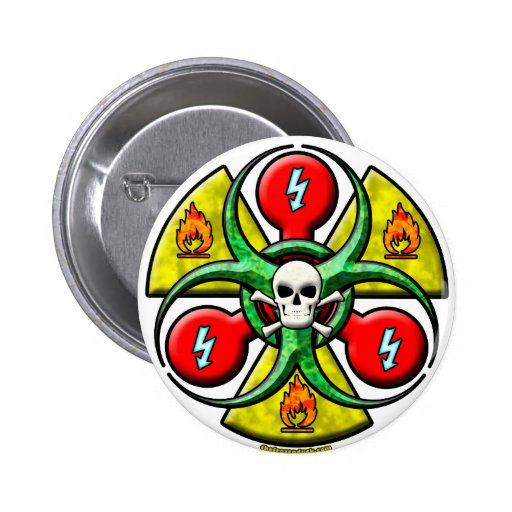 Extreme Danger Warning 6 Cm Round Badge