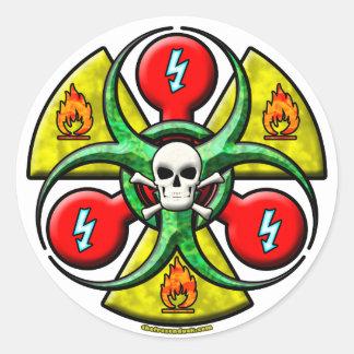 Extreme Danger Warning Round Sticker