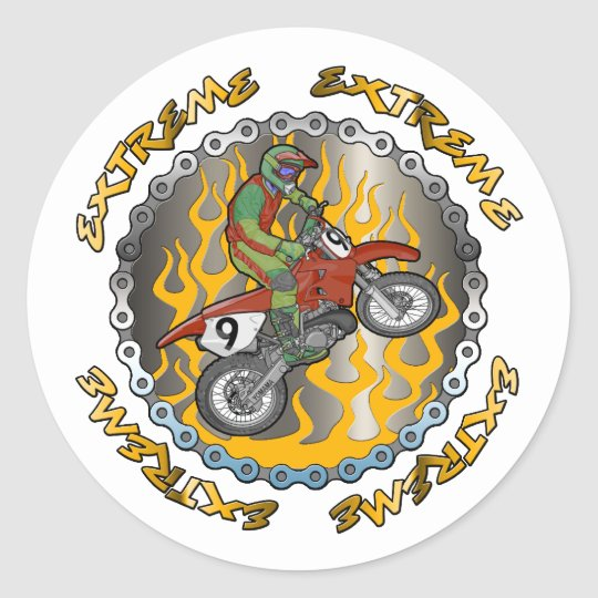 Extreme Dirtbike Classic Round Sticker