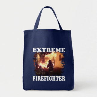 Extreme Firefighter Grocery Tote Bag