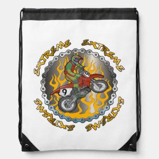 Extreme Gold Flames Motocross Drawstring Backpack Drawstring Bags