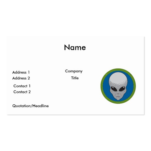 extreme golf alien head business card