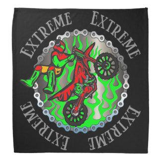 Extreme Green Motocross Racing Flames Bandana Kerchiefs