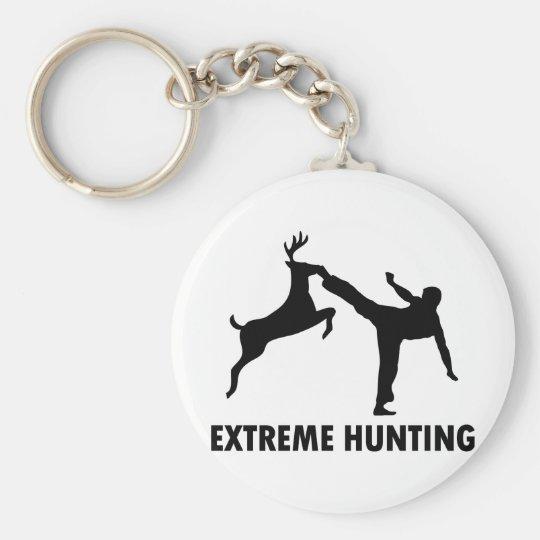 Extreme Hunting Deer Karate Kick Basic Round Button Key Ring