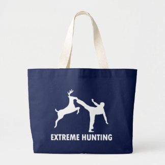 Extreme Hunting Deer Karate Kick Large Tote Bag
