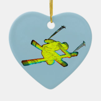 Extreme Skier Ceramic Heart Decoration