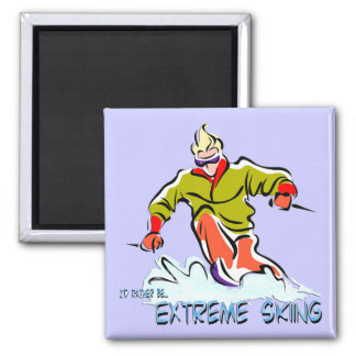 Extreme Skiing Fridge Magnet