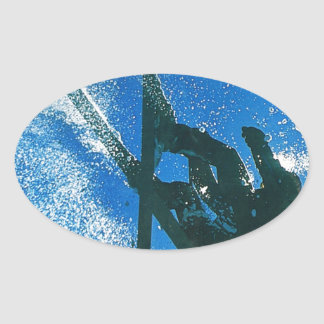 Extreme Skiing Oval Sticker