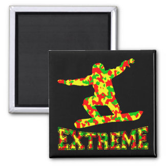 EXTREME SNOWBOARDER IN RED, GREEN, AND YELLOW CAMO SQUARE MAGNET