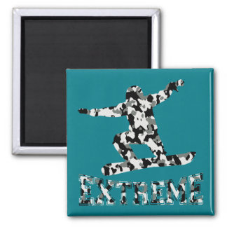 EXTREME SNOWBOARDER IN URBAN CAMO SQUARE MAGNET