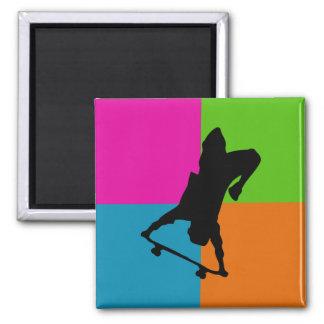 extreme sport - skateboard square magnet