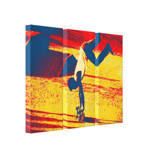 Extreme Sports Freestyle Skateboard Trick Stretched Canvas Prints