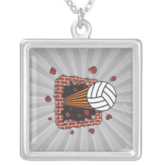 extreme volleyball breaking brick wall square pendant necklace