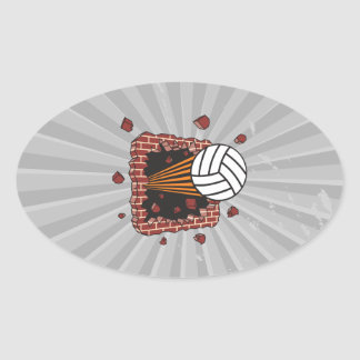 extreme volleyball breaking brick wall oval sticker