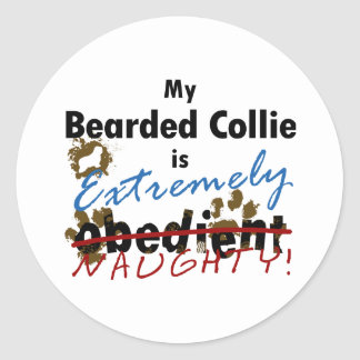 Extremely Naughty Bearded Collie Round Sticker