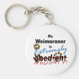 Extremely Naughty Weimaraner Basic Round Button Key Ring