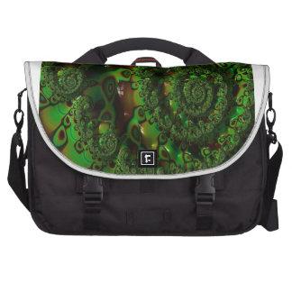 Exuberant Green Fractal Within Fractal Spiral Bag For Laptop