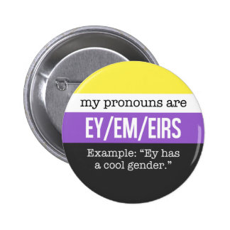 Ey/Em Pronouns – Nonbinary Flag 6 Cm Round Badge