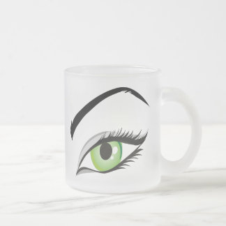eye-149673 BEAUTY FASHION MAKEUP SALON  eye, green Frosted Glass Mug