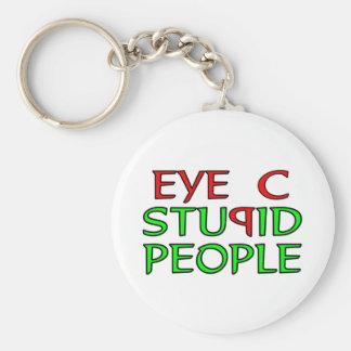 Eye C STUPID People Basic Round Button Key Ring