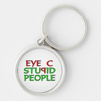 Eye C STUPID People Silver-Colored Round Key Ring