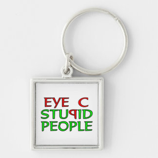 Eye C STUPID People Silver-Colored Square Key Ring