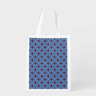 Eye Candy Kaleidoscope Blue Red  Reusable Bag