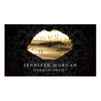 Eye Catching 3D Black Gold Lips Makeup Artist Business Card
