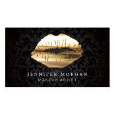 Eye Catching 3D Black Gold Lips Makeup Artist Pack Of Standard Business Cards at Zazzle