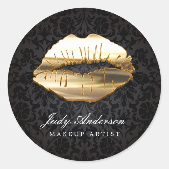 Eye Catching 3D Black Gold Lips Makeup Artist