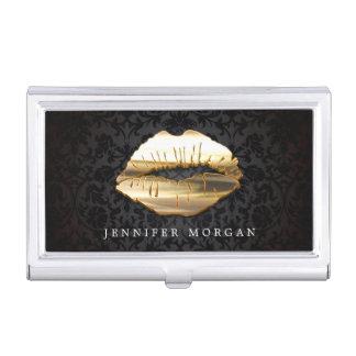 Eye Catching 3D Golden Lips Makeup Artist Salon Business Card Holder