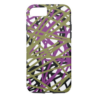Eye Catching Abstract Lines, Purple, Gold, & Black iPhone 8/7 Case