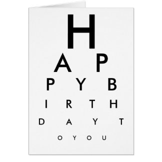Eye Chart Happy Birthday Card