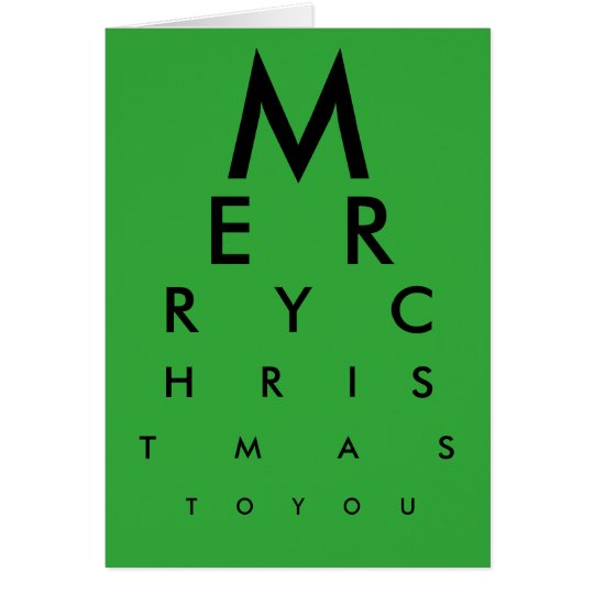 Eye Chart Merry Christmas Card (Green)