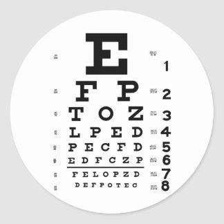 Eye Chart Round Sticker