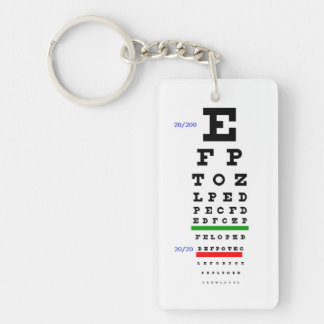 Eye Chart with Eyeballs background Double-Sided Rectangular Acrylic Key Ring