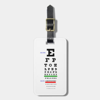 Eye Chart with Eyeballs background Luggage Tag