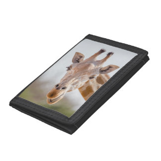 Eye contact with giraffe trifold wallet