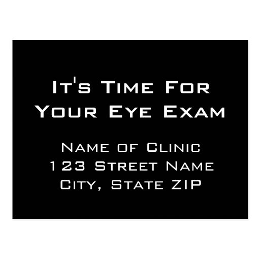 Eye Exam Appointment Reminder From Clinic Post Cards