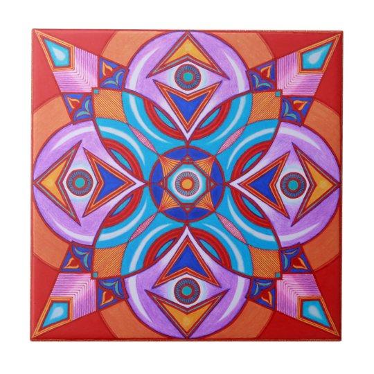 Eye Flower Mandala Ceramic Art Tile