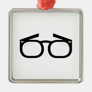 Eye Glasses Silver-Colored Square Decoration