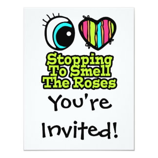 Eye Heart I Love Stopping to Smell the Roses Personalized Invitation