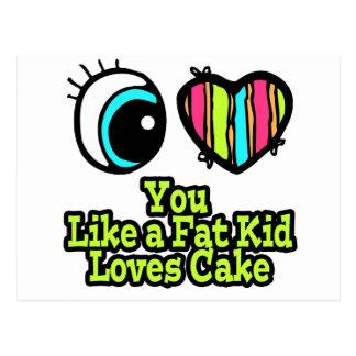 Eye Heart I Love You Like a Fat Kid Loves Cake Postcard