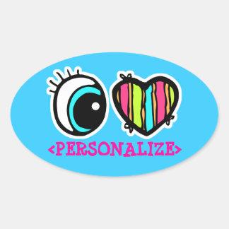 Eye Heart Pictogram, <PERSONALIZE> Oval Sticker
