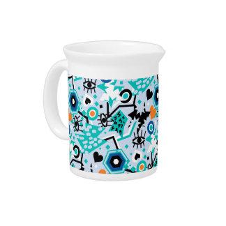 Eye heart pop art cool bright blue pattern pitcher